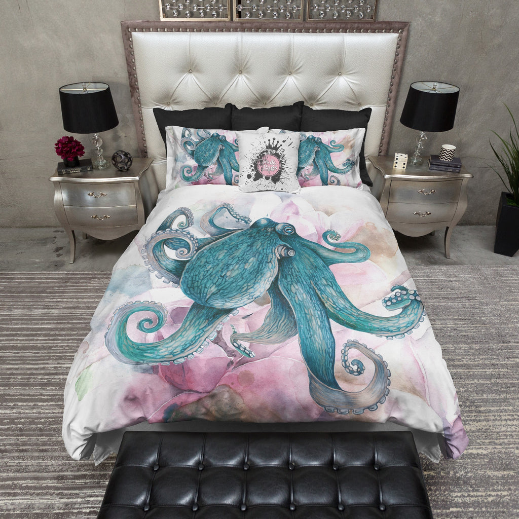 Teal Octopus and Magnolia Duvet Bedding Sets