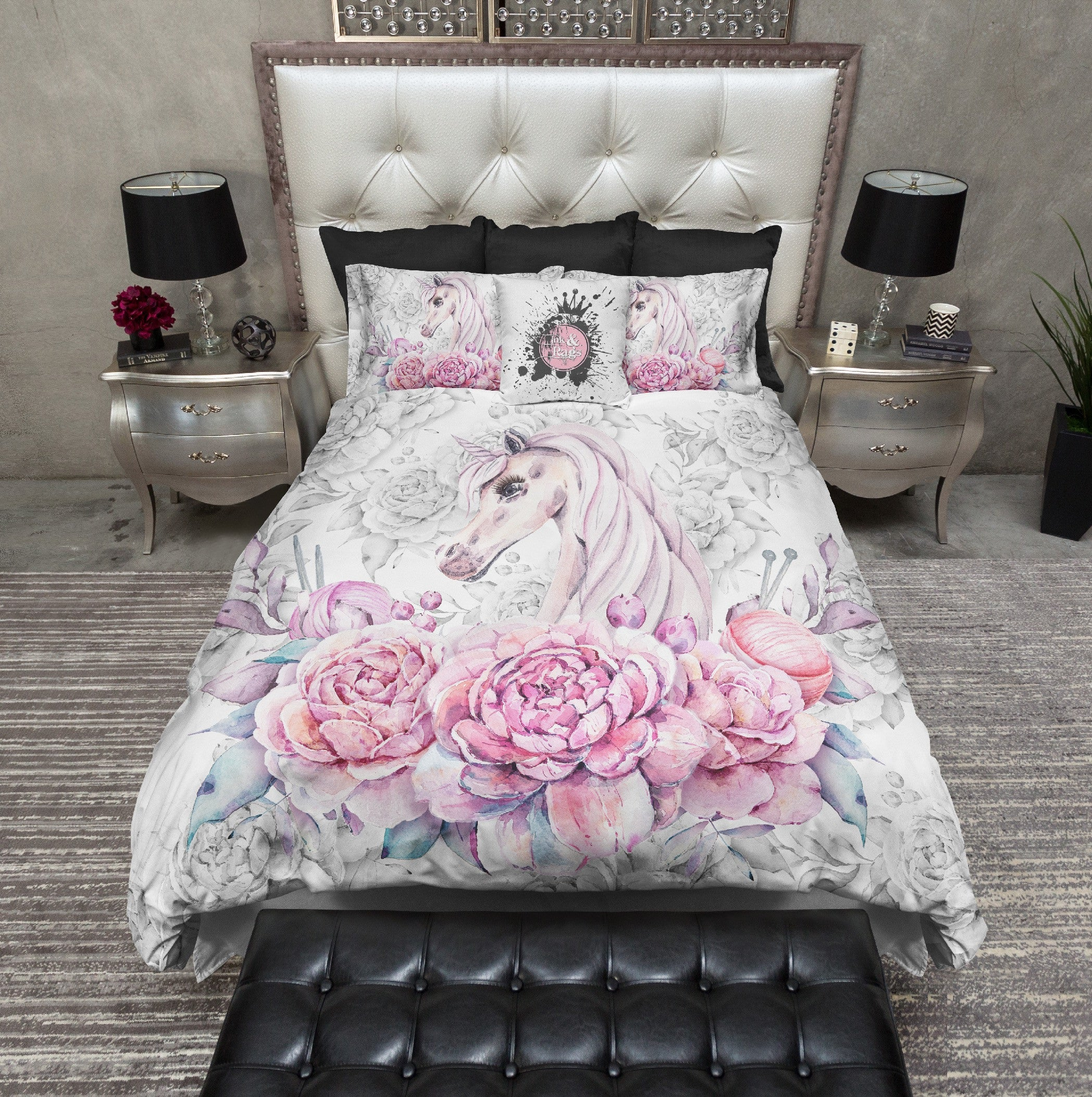 Sweetheart Unicorn Rose Bedding Ink And Rags