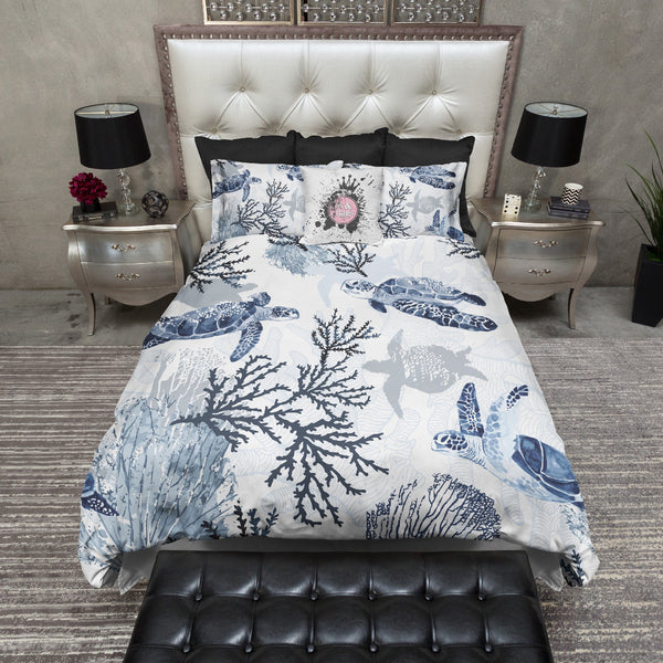 Blue Grey Sea Turtle Coral Beach Theme Bedding Ink And Rags