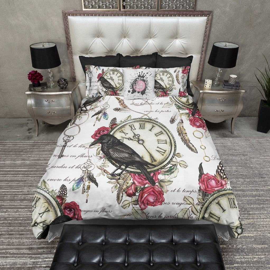 Vintage Red Rose Raven Clock Boho Feather Bedding Collection
