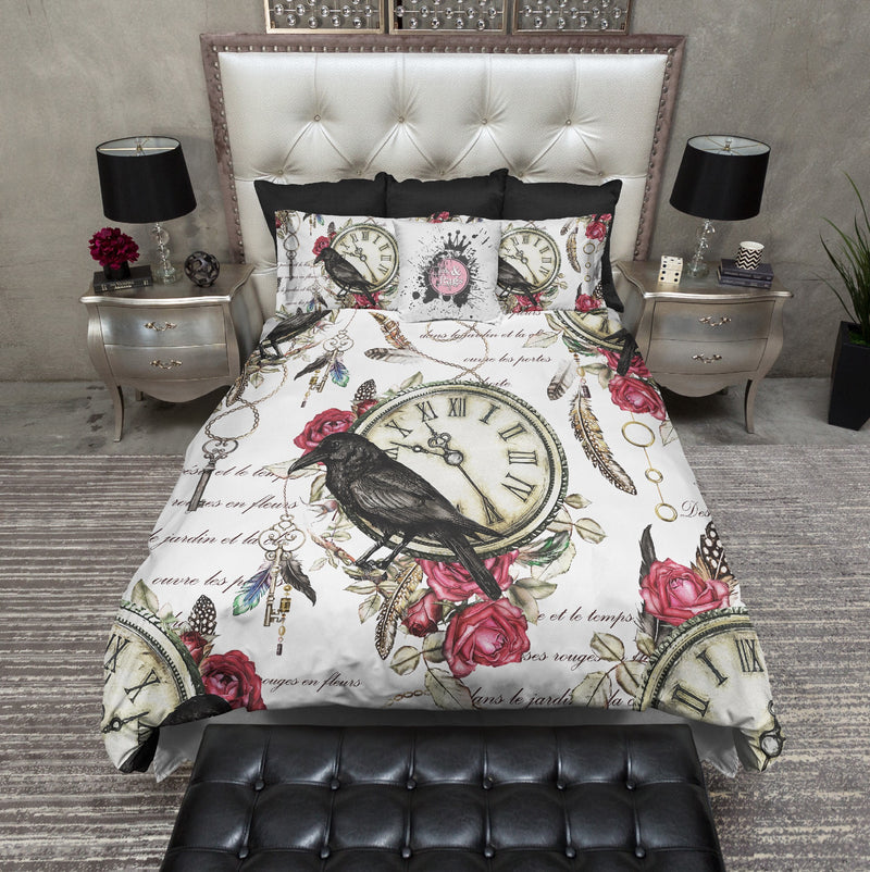 Vintage Red Rose Raven Clock Boho Feather Bedding