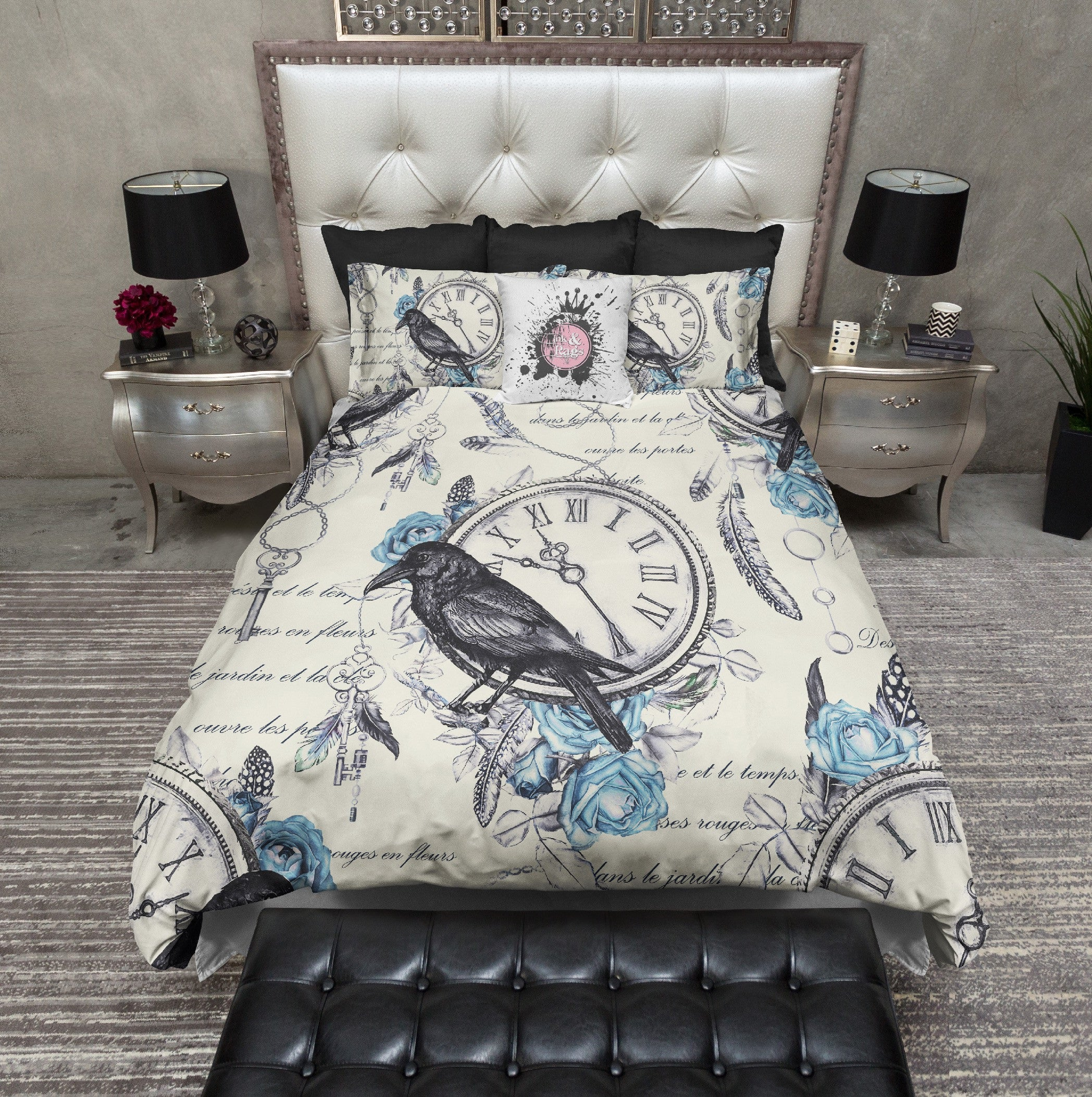 Vintage Blue Rose Raven Clock Boho Feather Duvet Bedding