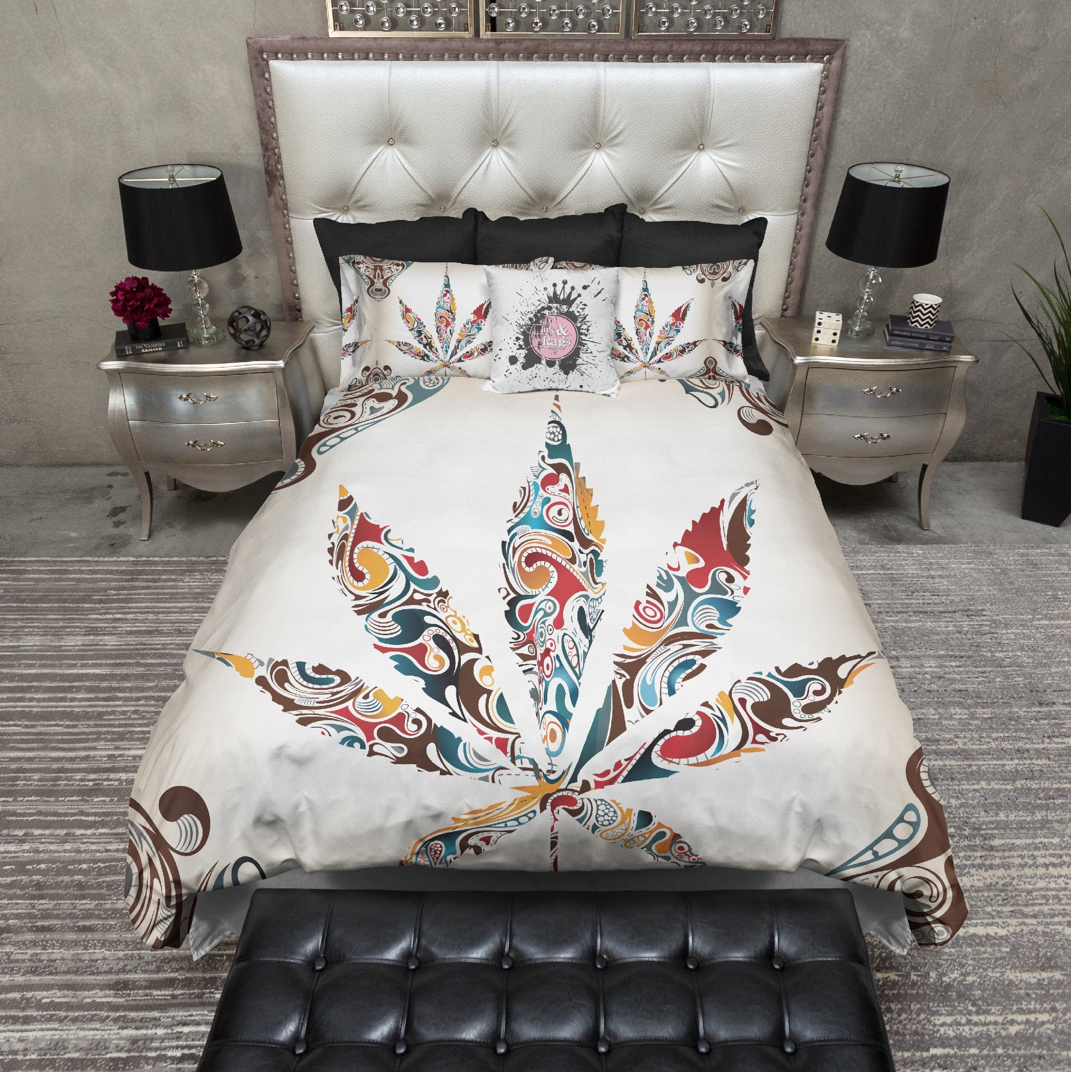 White Smoke Leaf Cannabis Marijuana Bedding Collection Ink And Rags