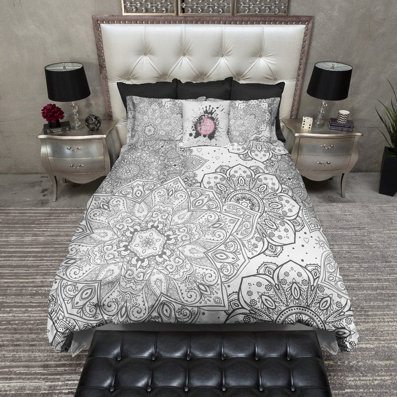 Boho Black on White Zendala Bedding
