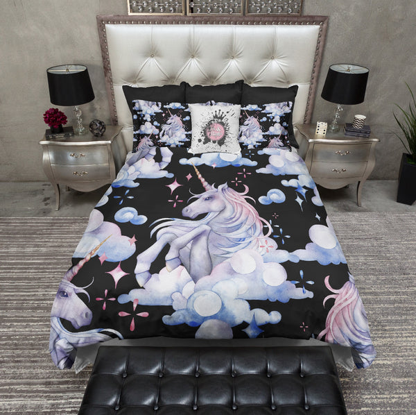 Unicorn in the Clouds Pattern Black Bedding