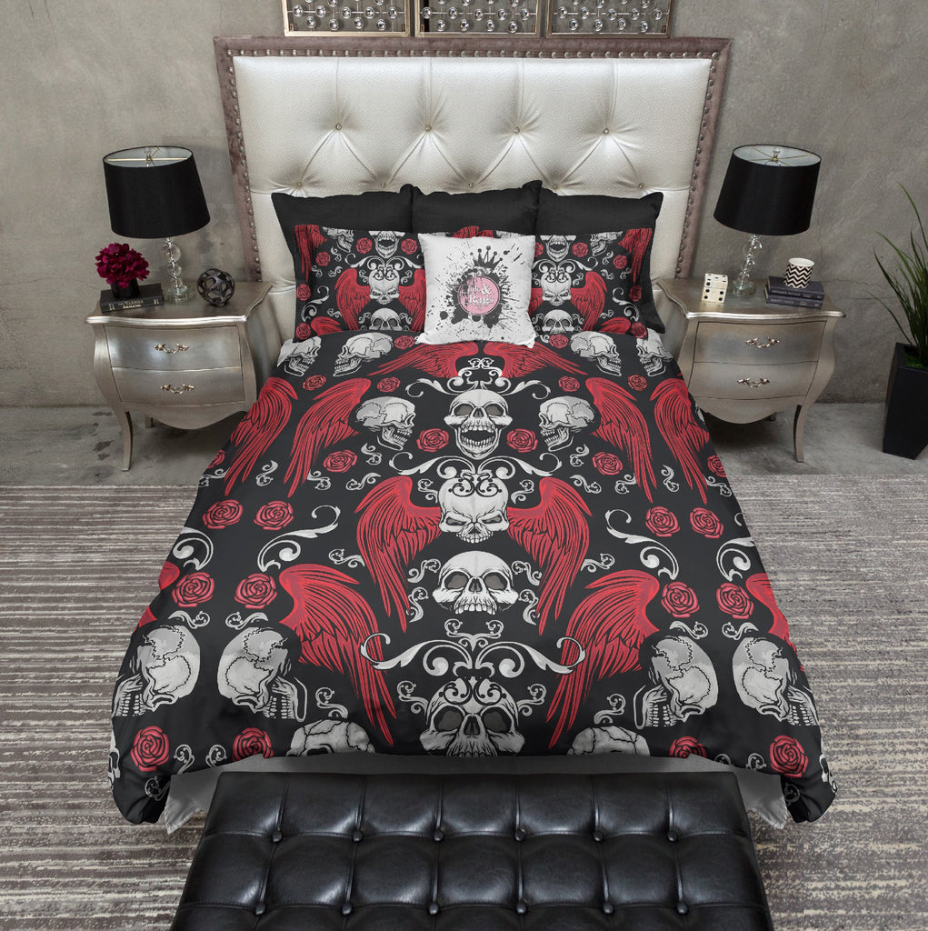 Wicked Red Rose Wing and Skull Bedding Collection