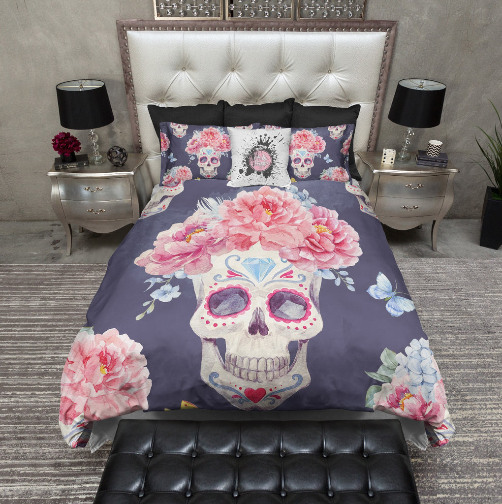 Watercolor Pink Flower and Butterfly Sugar Skull Bedding Collection