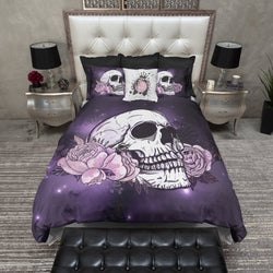 Purple Galaxy Rose Skull Bedding