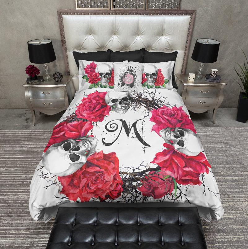 Personalized Red Rose Wreath Skull Bedding