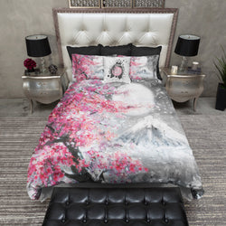 Japanese Watercolor Sakura Landscape Duvet Bedding Sets