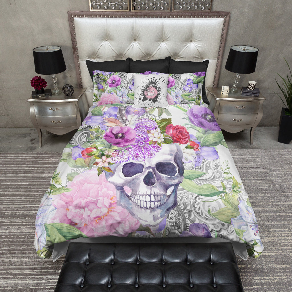 Watercolor Flower and Paisley Boho Skull Bedding Collection