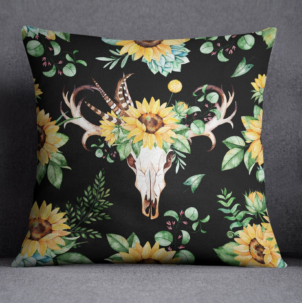 Sunflower and Deer Skull on Black Throw Pillow