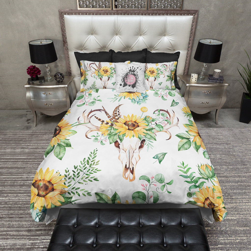 Sunflower and Deer Skull on White Bedding Collection