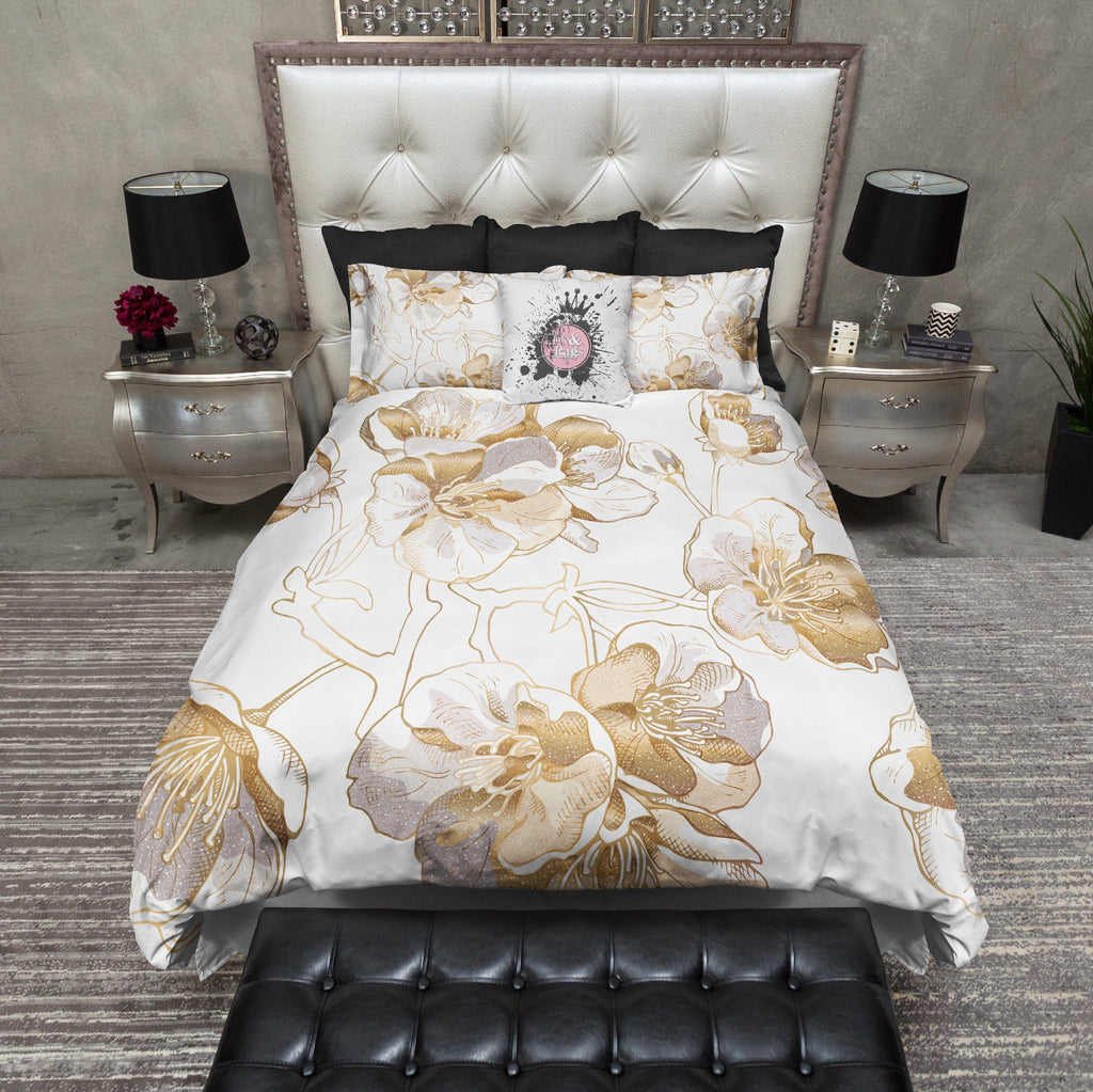 Gold and Grey Sakura Cherry Blossom Bedding Collection