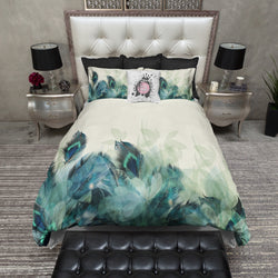 Peacock Feather and Leaf Motif Bedding CREAM