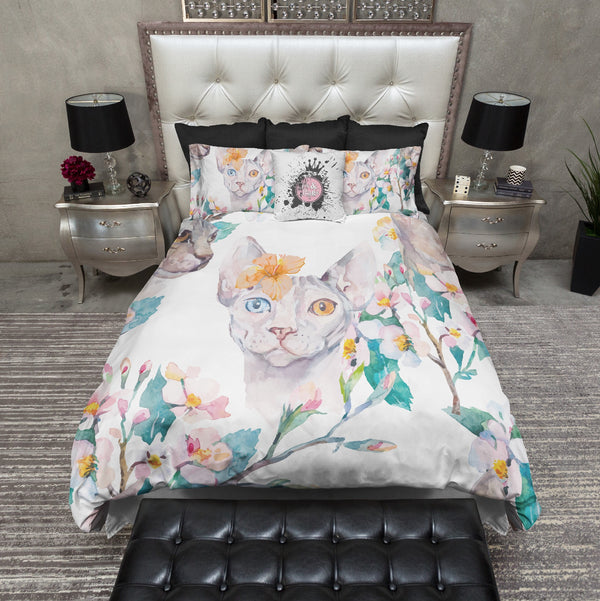 Watercolor Hibiscus Sphynx Cat Bedding