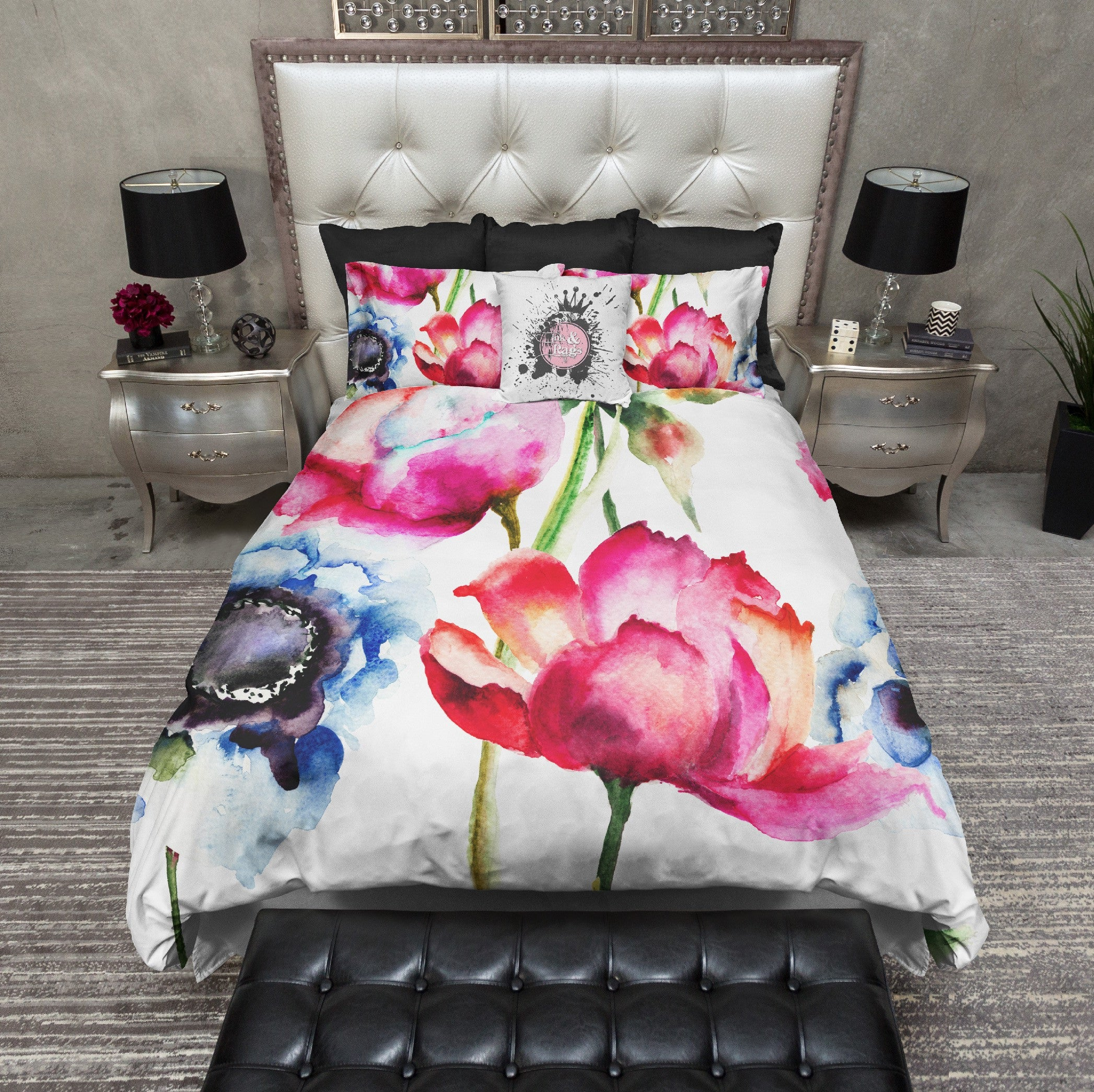 rags and watercolor screen colorful flower bed duvet products at ink sets am poppy bedding shot