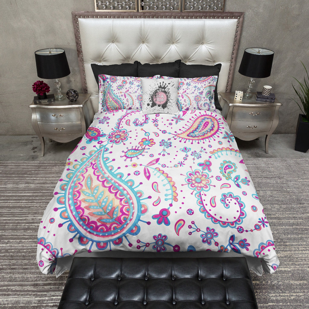Bohemian Watercolor Paisley Bedding Collection