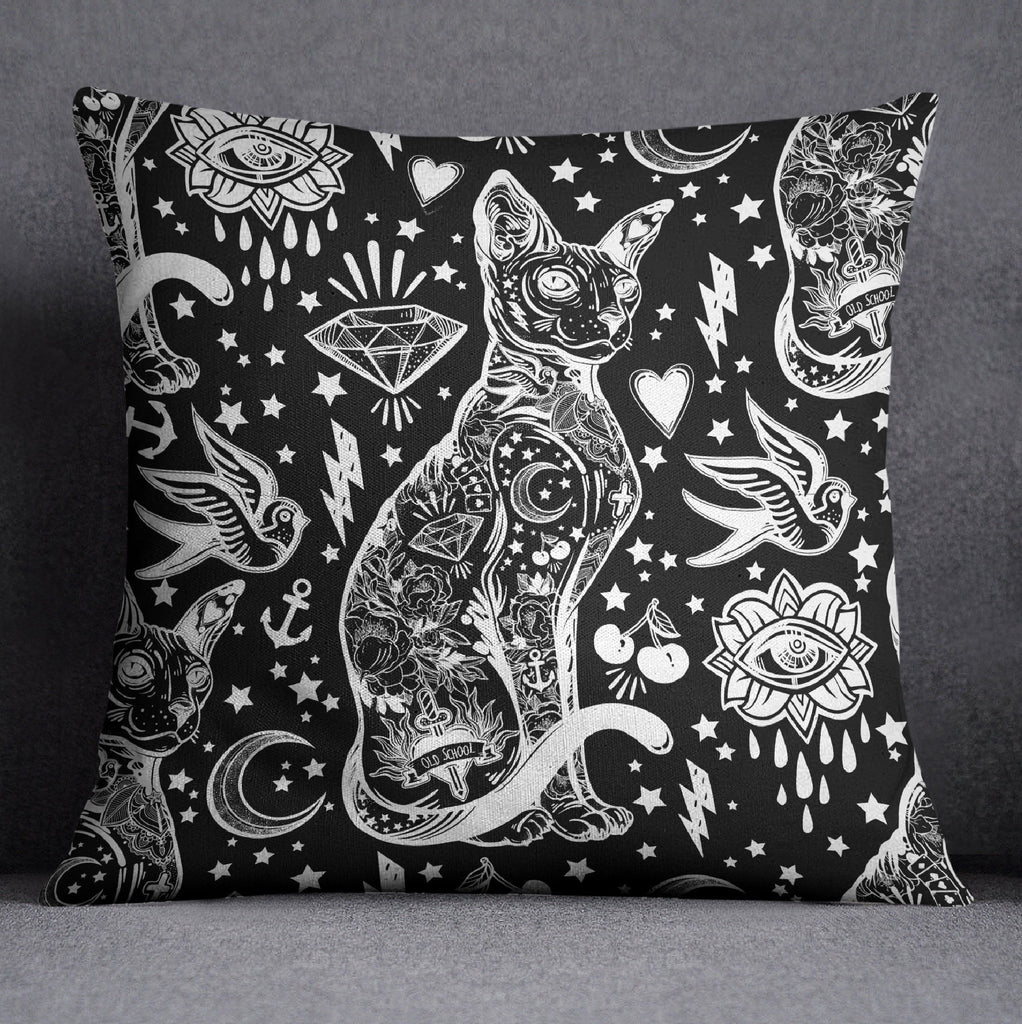 Black and White Old School Tattoo Sphynx Cat Throw Pillow