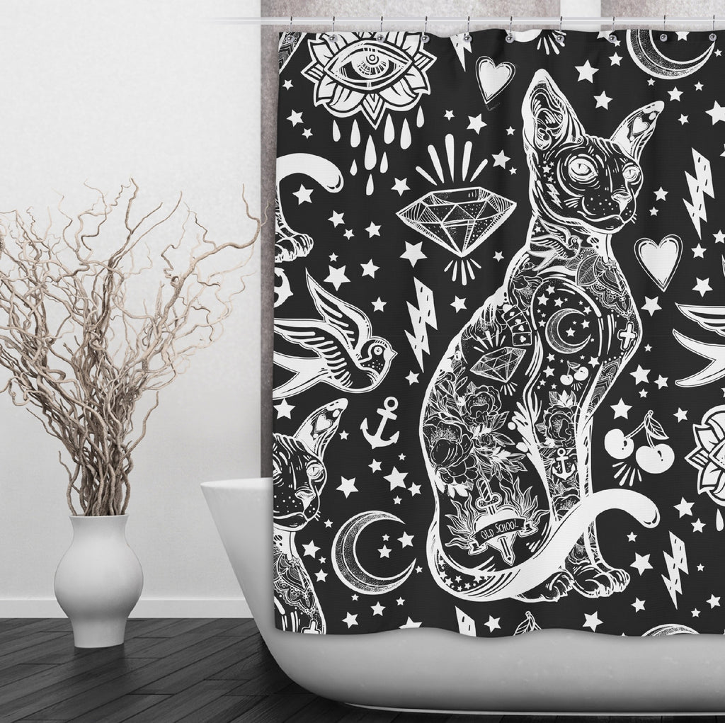 Black and White Old School Tattoo Sphynx Cat Shower Curtains and Optional Bath Mats