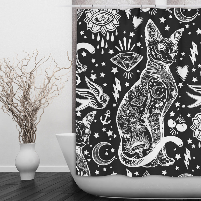 Black and White Old School Tattoo Sphynx Cat Shower Curtains and Bath Mats