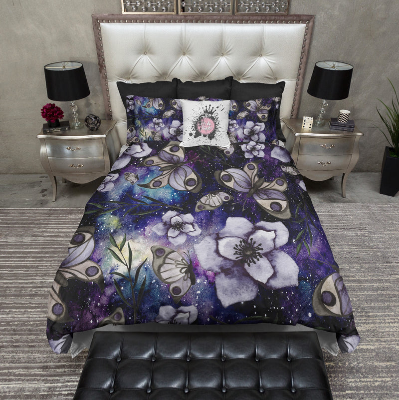 Watercolor Galaxy Floral Butterfly Bedding