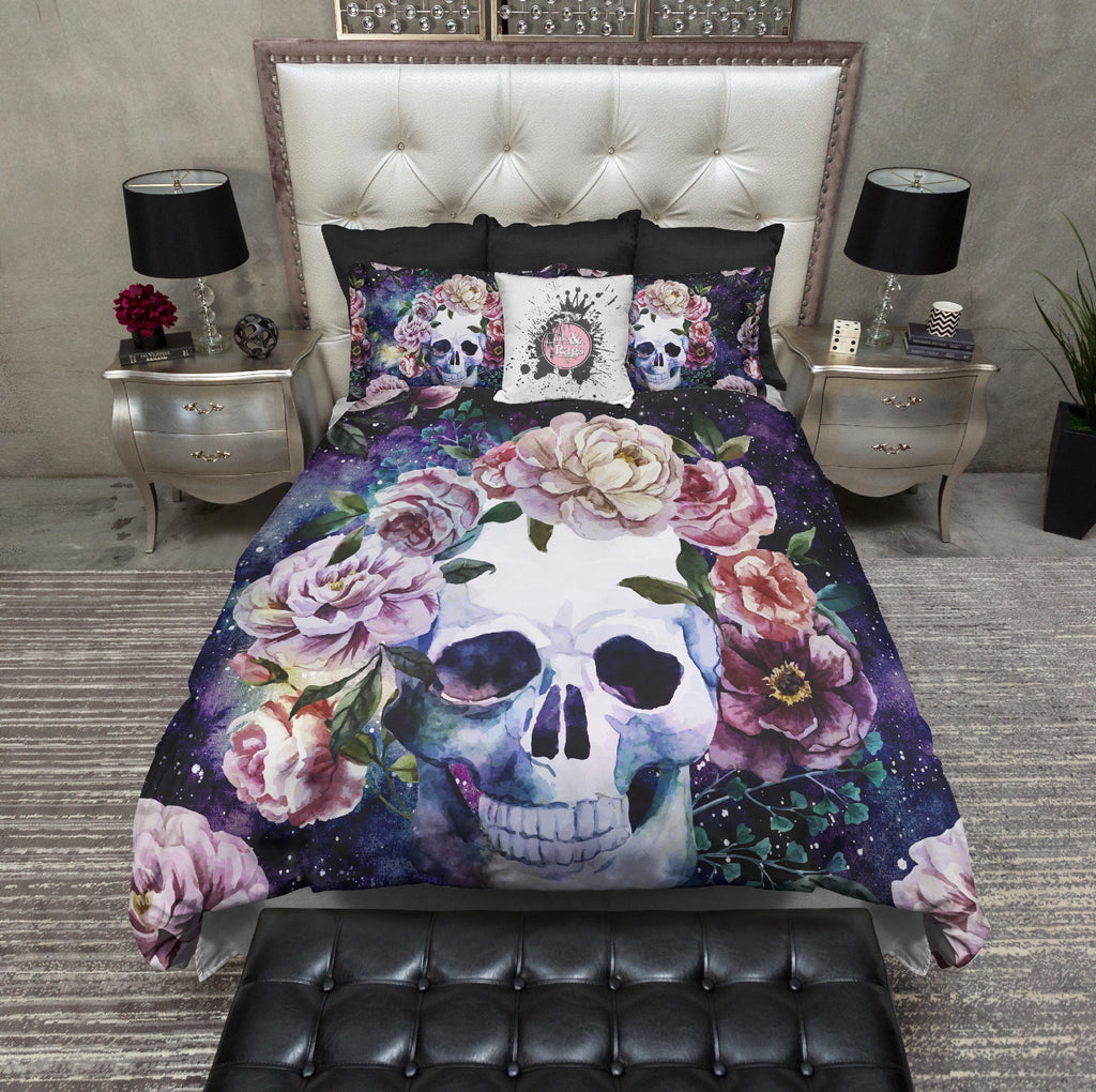 Classic Watercolor Galaxy Skull Bedding Collection