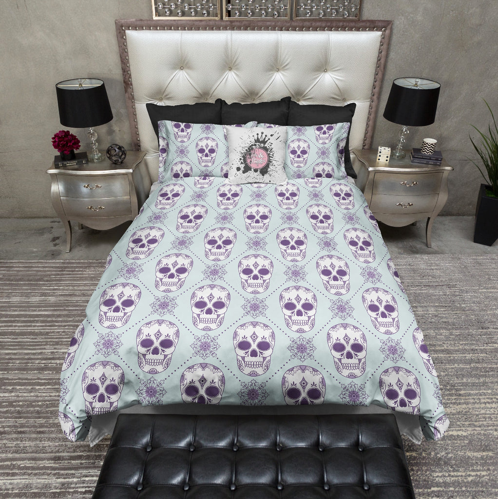 Ice Blue and Purple Diamond Sugar Skull Bedding