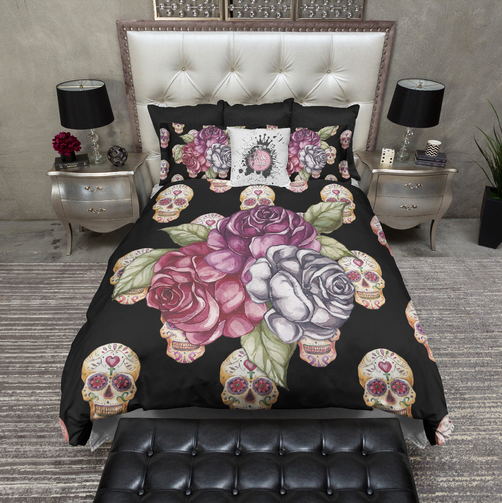 Rose Trio with Sugar Skull Background Bedding Collection