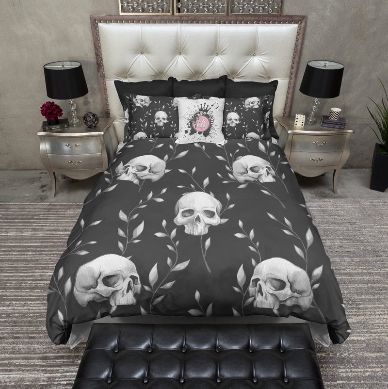 Slate Grey Skull and Branch Bedding