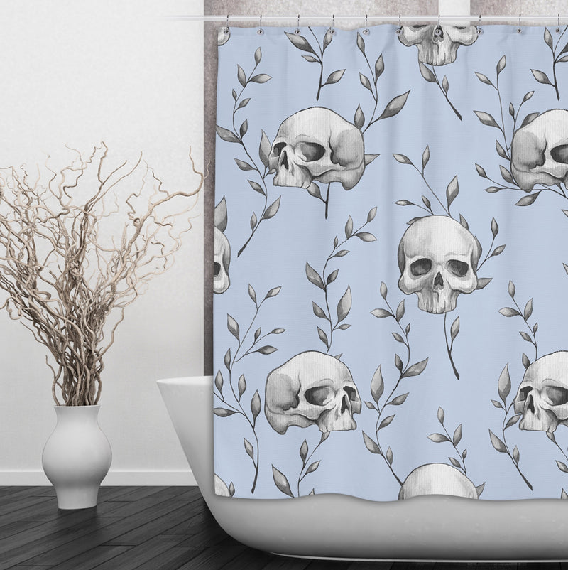 Powder Blue Skull and Branch Shower Curtains and Bath Mats