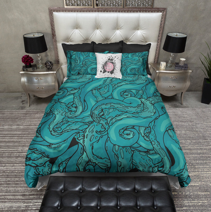 Teal Octopus Tentacles Bedding
