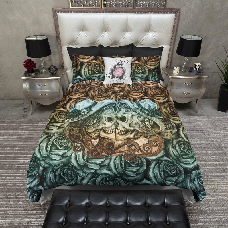 Copper and Patina Dark Rose Kissing Sugar Skull Bedding