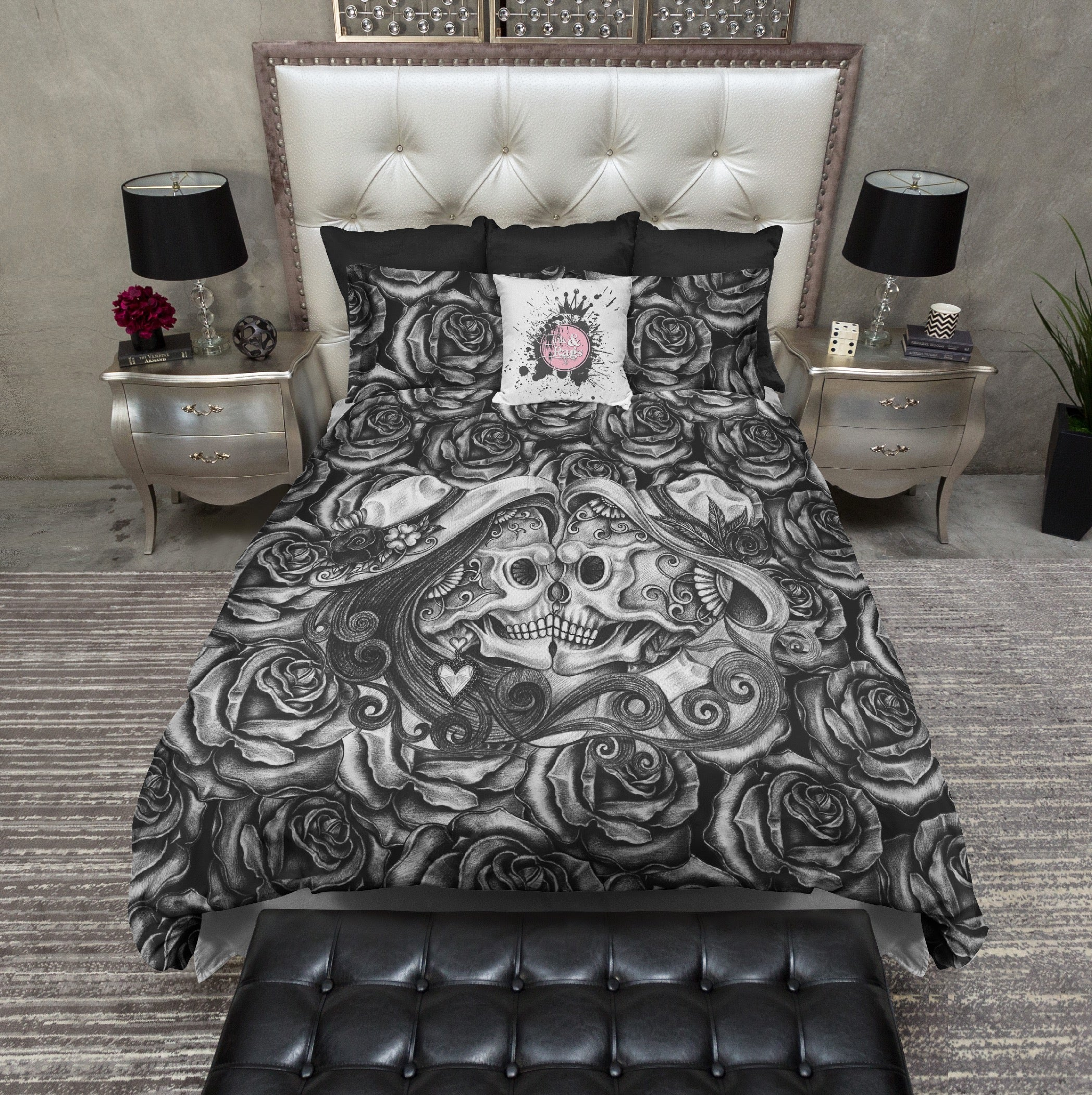 bedding shot sugar rose am skull cover products kissing duvet rags dark ink at and screen