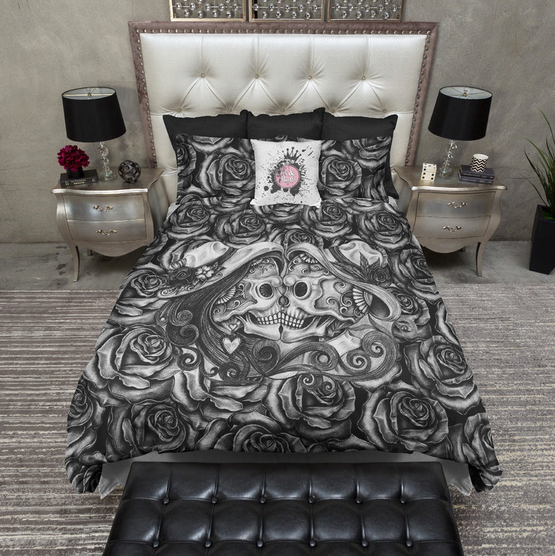 Dark Rose Kissing Sugar Skull Bedding
