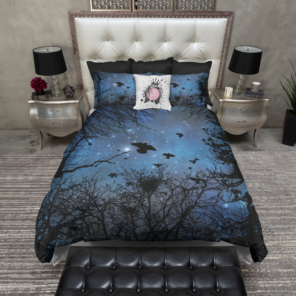 Black Crows in Flight Night Sky Bedding