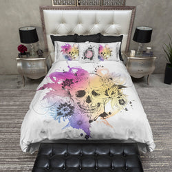 Colorful Watercolor Flower and Skull Bedding
