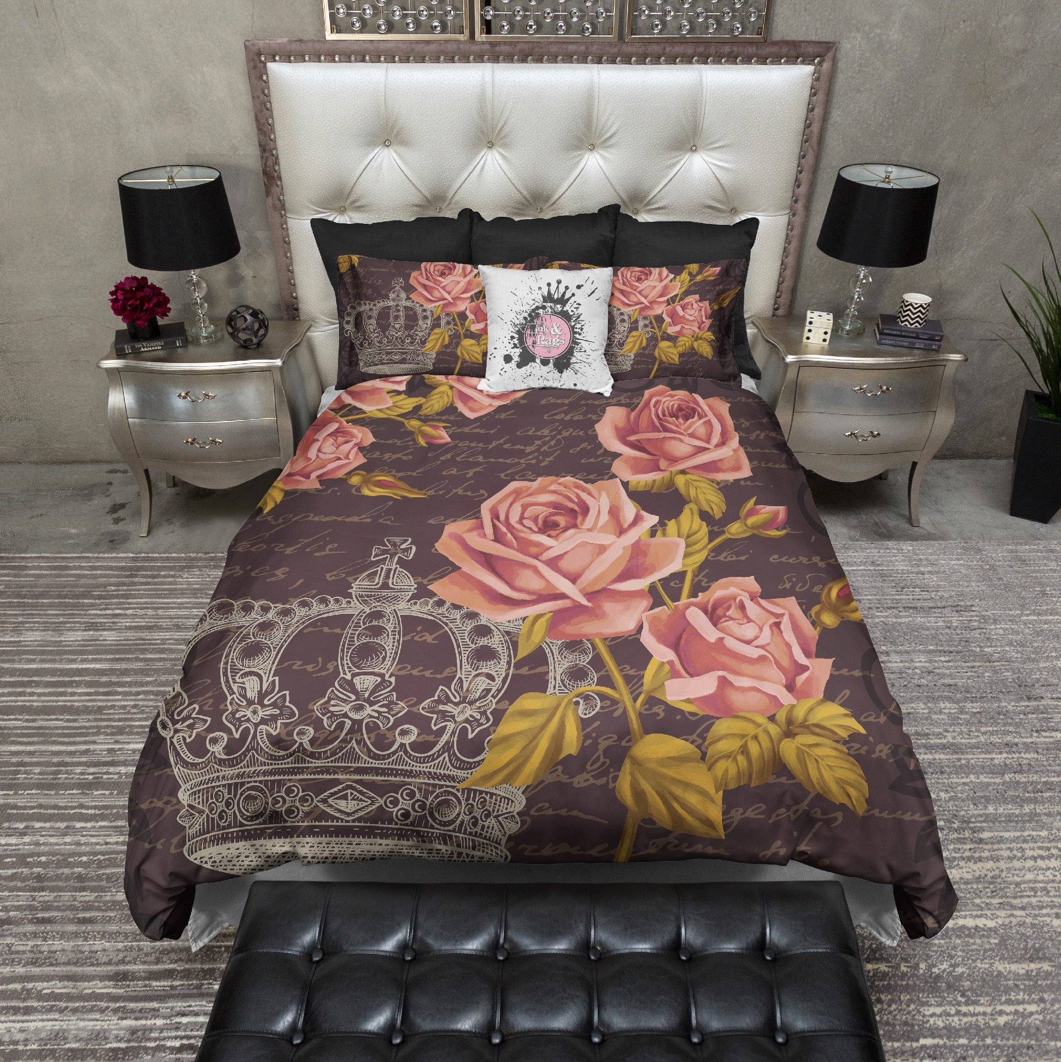 Dark Vintage Style Crown Rose Cream Bedding Collection Ink And Rags