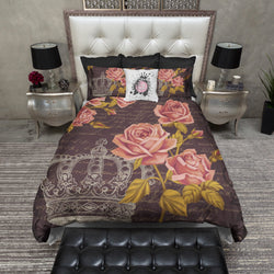 Dark Vintage Style Crown Rose Bedding CREAM