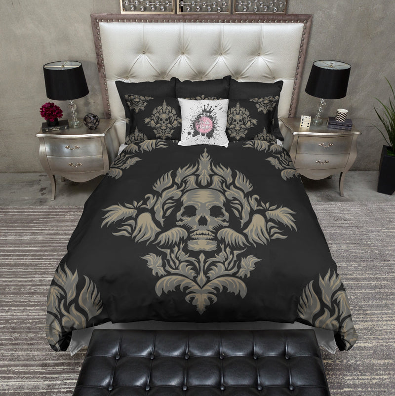 Grey and Tan Skull Bedding CREAM