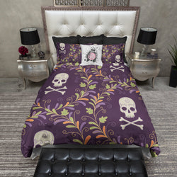 Purple Wreath Skull Bedding CREAM
