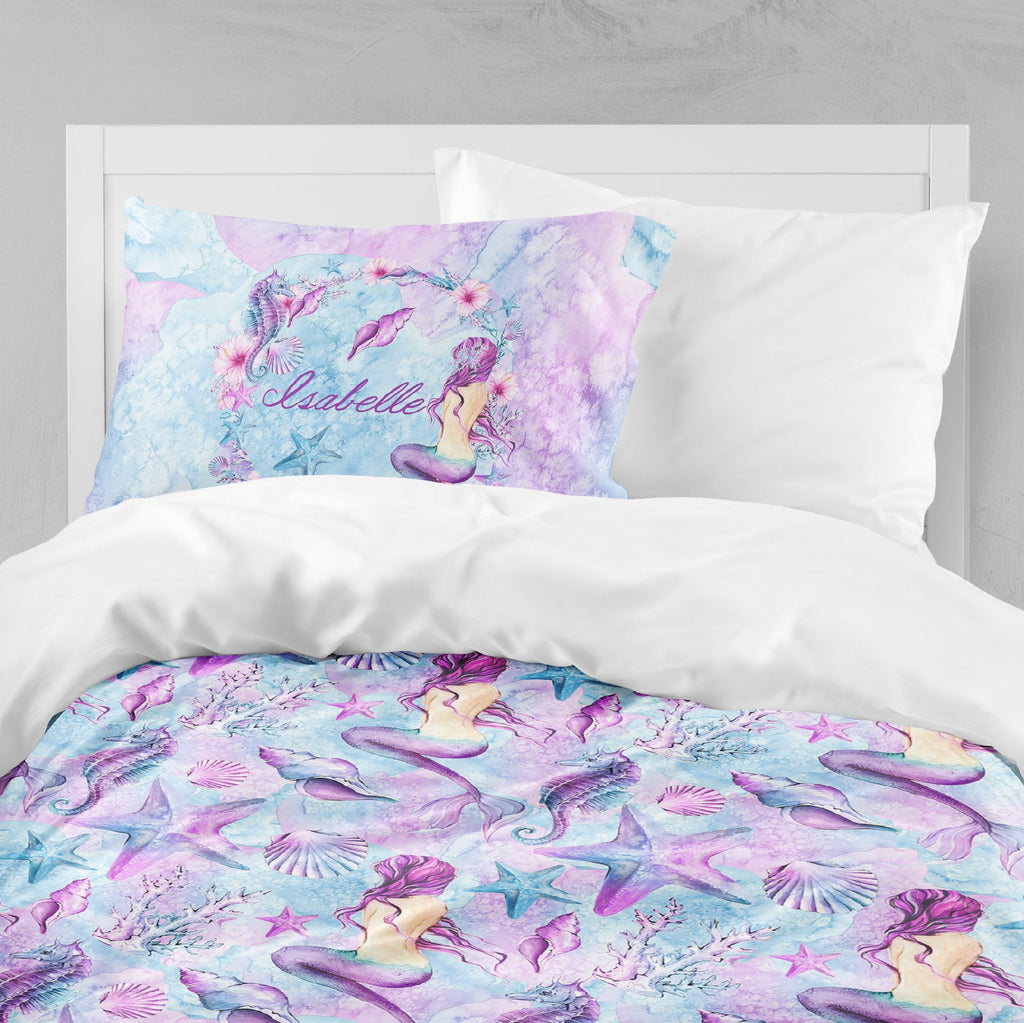 Personalized Purple Watercolor Mermaid Crib and Toddler Bedding Collection