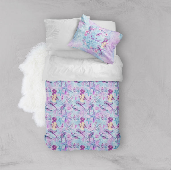 Personalized Purple Watercolor Mermaid Crib and Toddler Size Comforter Sets