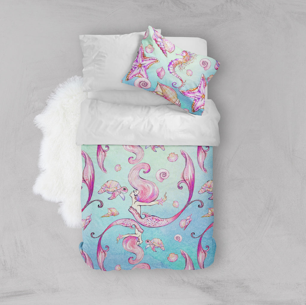 Siren of the Sea Watercolor Mermaid Crib and Toddler Bedding
