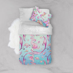 Siren of the Sea Watercolor Mermaid Crib and Toddler Size Comforter Sets