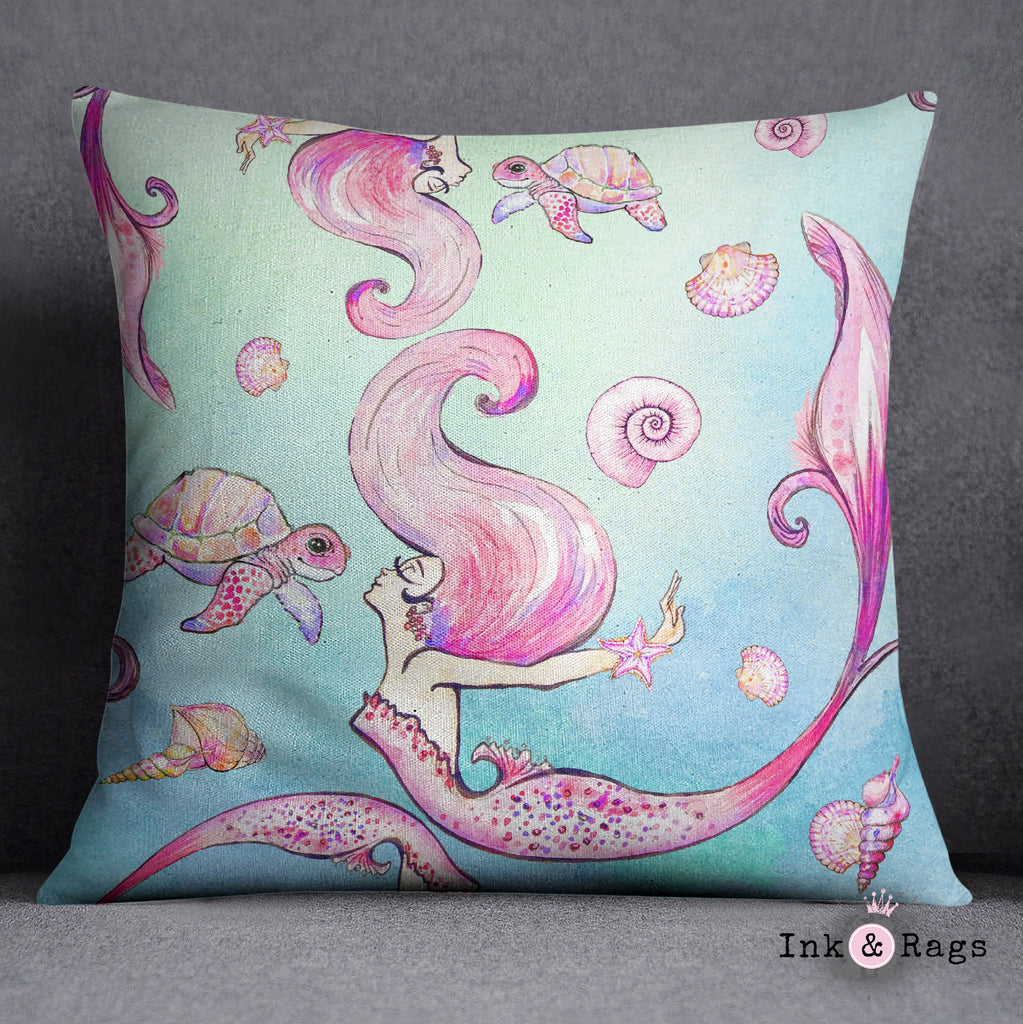 Siren of the Sea Watercolor Mermaid Decorative Throw Pillow Cover
