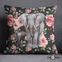 Dark Pink Rose Mama and Baby Elephant Decorative Throw Pillow Cover