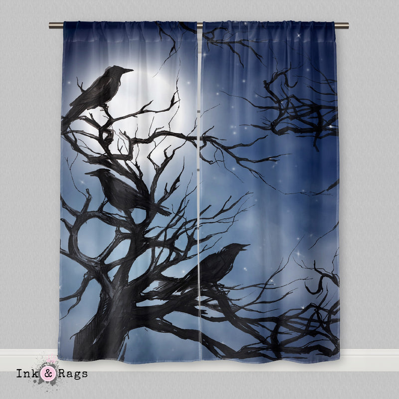 Ravens in the Moonlight Curtains or Sheers