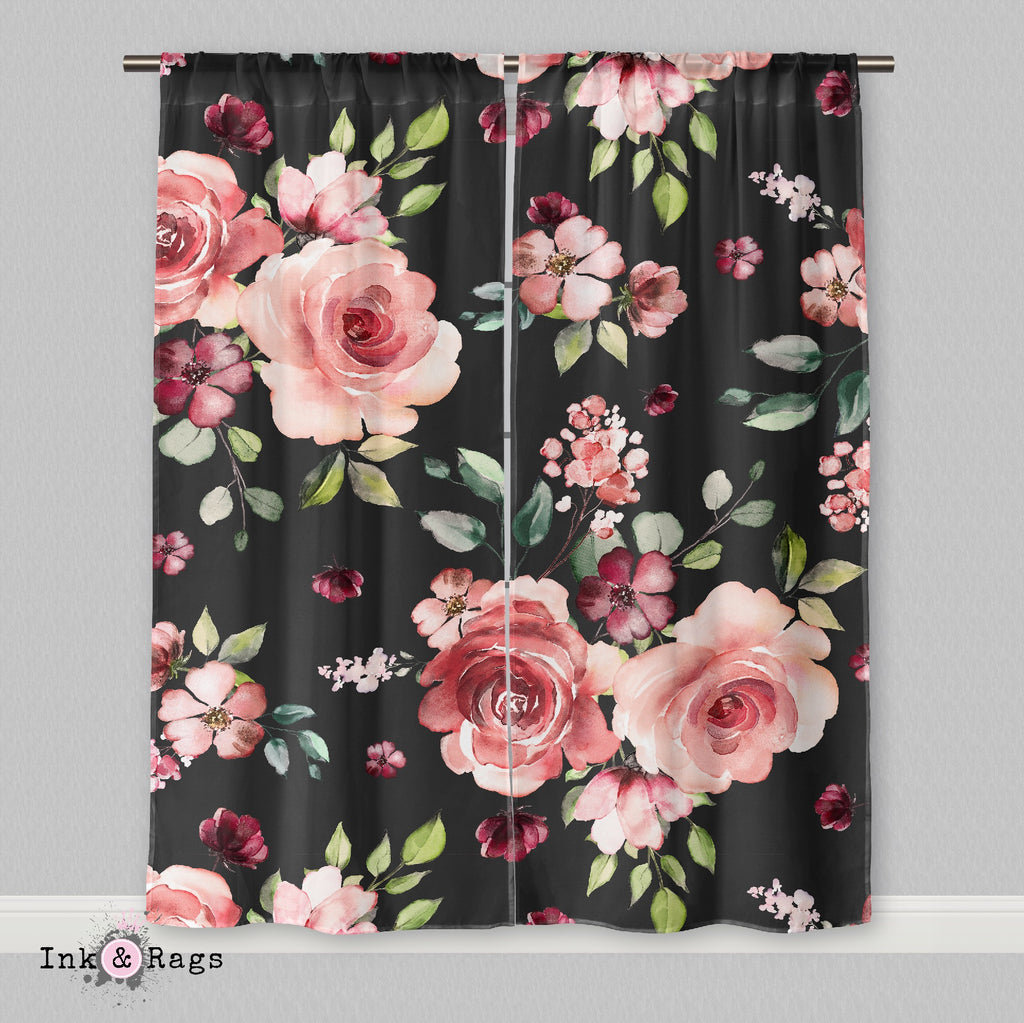 Dark Pink Rose Curtains