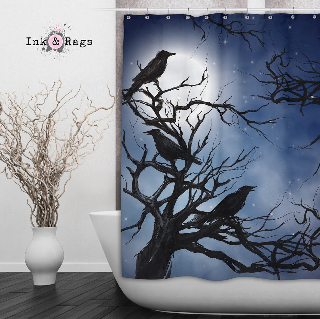 Ravens in the Moonlight Shower Curtains and Optional Bath Mats